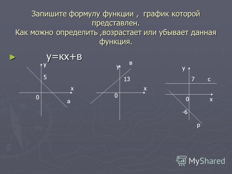 Запишите формулу функции, график которой представлен. Как можно определить,возрастает или убывает данная функция. у=кх+в у=кх+в х у х у х у 0 0 0 5 13 -6 7 а в с р