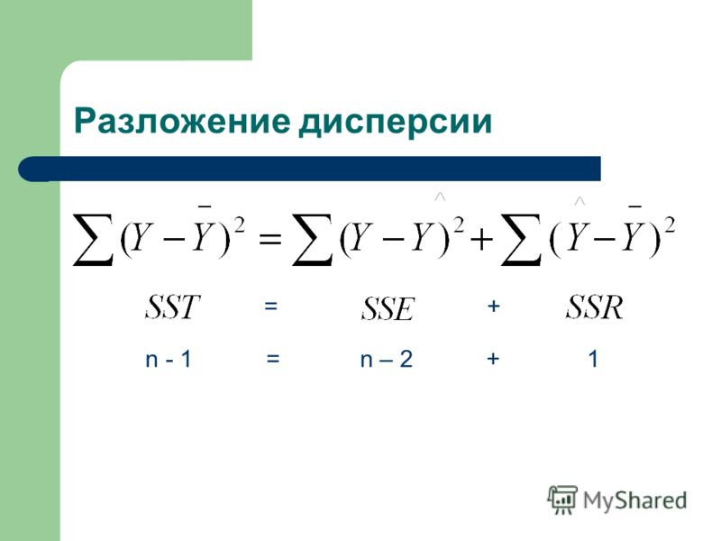 Разложение дисперсии =+ n - 1 = n – 2 + 1