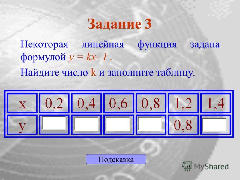 Задание 3 Некоторая линейная функция задана формулой y = kx- 1. Найдите число k и заполните таблицу. Подсказка