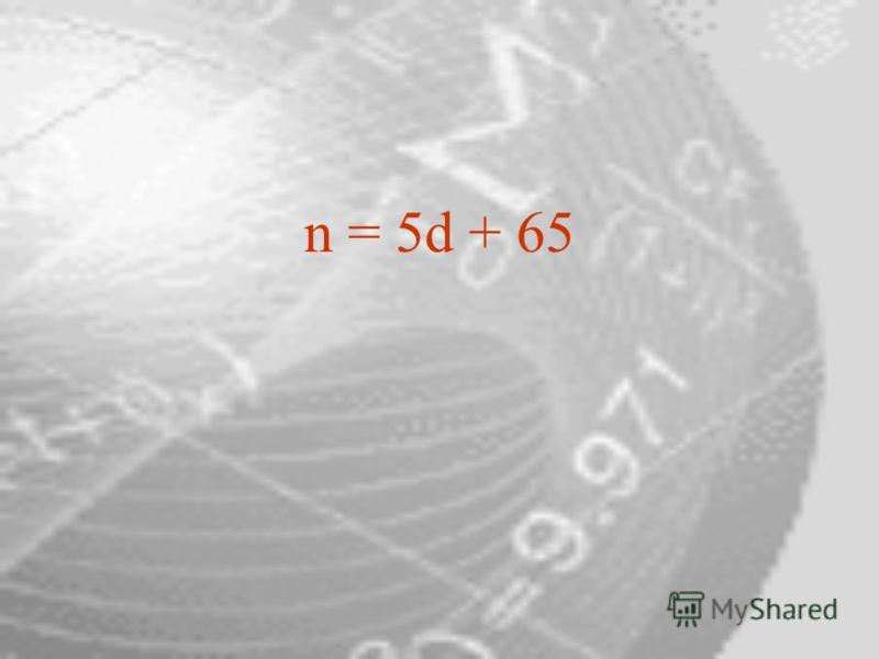 n = 5d + 65
