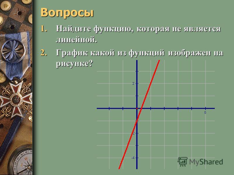 Вижу, что вы готовы отправиться в дорогу. О цели нашего путешествия вы узнаете, правильно решив следующие задания. Перед вами формулы, задающие функции: а) y= ½x + 5; к) y y y y= 3x – 1; б) y= x/4 + 2; л) y= 2/x + 3; в) y= 3; м) y= 3x; г г) y= - 3x –