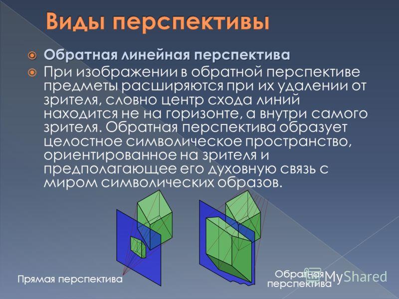 Обратная линейная перспектива Обратная линейная перспектива При изображении в обратной перспективе предметы расширяются при их удалении от зрителя, словно центр схода линий находится не на горизонте, а внутри самого зрителя. Обратная перспектива обра