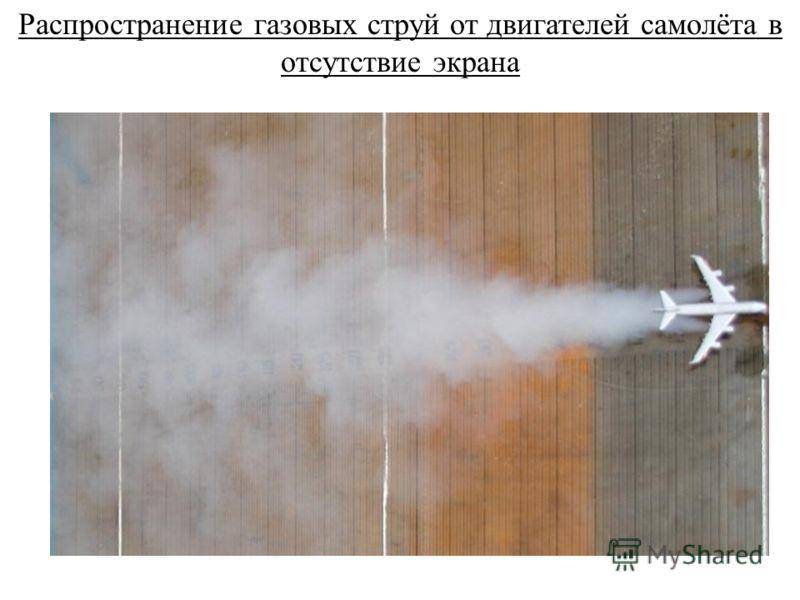 Распространение газовых струй от двигателей самолёта в отсутствие экрана
