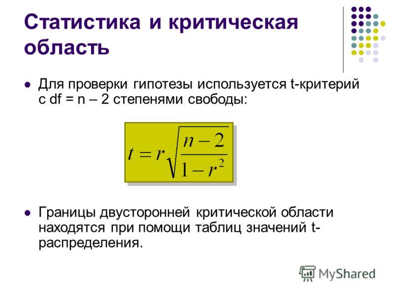 Статистика и критическая область Для проверки гипотезы используется t-критерий с df = n – 2 степенями свободы: Границы двусторонней критической области находятся при помощи таблиц значений t- распределения.