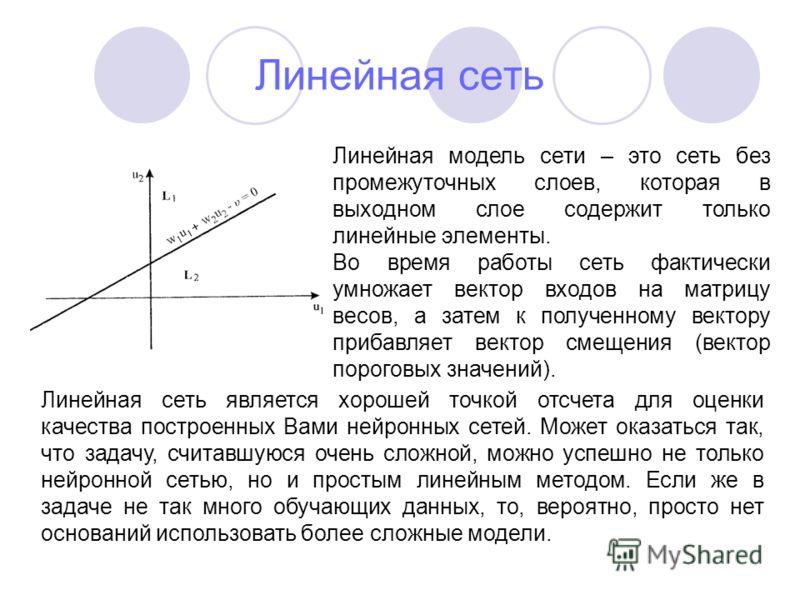 Линейная сеть Линейная модель сети – это сеть без промежуточных слоев, которая в выходном слое содержит только линейные элементы. Во время работы сеть фактически умножает вектор входов на матрицу весов, а затем к полученному вектору прибавляет вектор