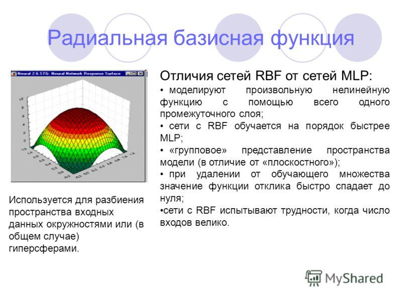 Радиальная базисная функция Используется для разбиения пространства входных данных окружностями или (в общем случае) гиперсферами. Отличия сетей RBF от сетей MLP: моделируют произвольную нелинейную функцию с помощью всего одного промежуточного слоя;