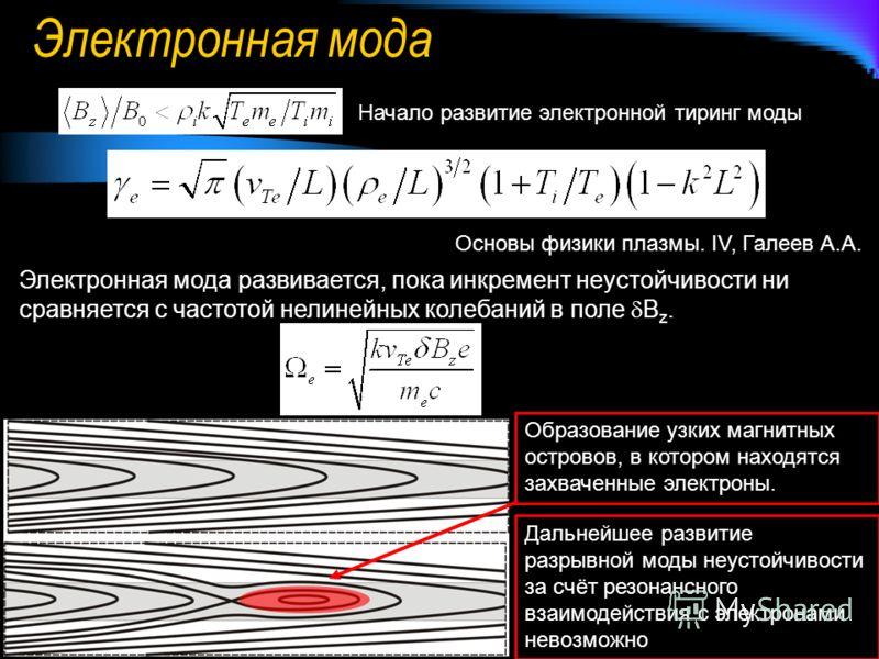 Электронная мода Начало развитие электронной тиринг моды Основы физики плазмы. IV, Галеев А.А. Электронная мода развивается, пока инкремент неустойчивости ни сравняется с частотой нелинейных колебаний в поле B z. Образование узких магнитных островов,