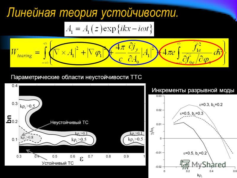 Линейная теория устойчивости. Параметрические области неустойчивости ТТС Инкременты разрывной моды