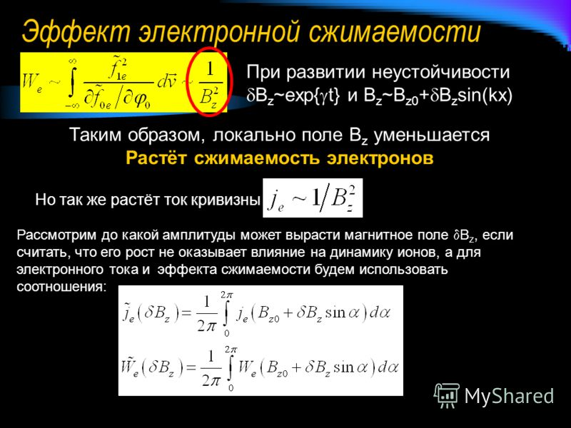 Эффект электронной сжимаемости При развитии неустойчивости B z ~exp{ t} и B z ~B z0 + B z sin(kx) Таким образом, локально поле B z уменьшается Растёт сжимаемость электронов Но так же растёт ток кривизны Рассмотрим до какой амплитуды может вырасти маг