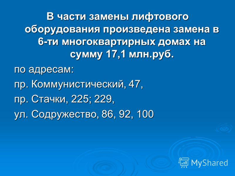 В части замены лифтового оборудования произведена замена в 6-ти многоквартирных домах на сумму 17,1 млн.руб. по адресам: пр. Коммунистический, 47, пр. Стачки, 225; 229, ул. Содружество, 86, 92, 100