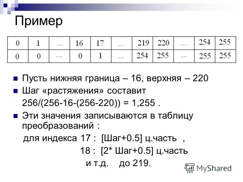 Пусть нижняя граница – 16, верхняя – 220 Шаг «растяжения» составит 256/(256-16-(256-220)) = 1,255. Эти значения записываются в таблицу преобразований : для индекса 17 : [Шаг+0.5] ц.часть, 18 : [2* Шаг+0.5] ц.часть и т.д. до 219. Пример