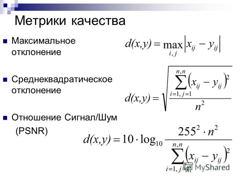 Метрики качества Максимальное отклонение Среднеквадратическое отклонение Отношение Сигнал/Шум (PSNR)