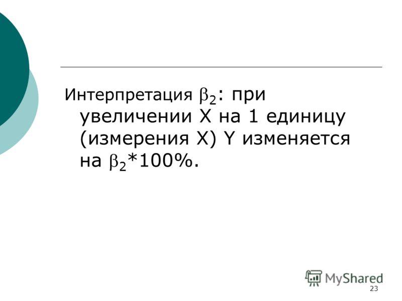 23 Интерпретация 2 : при увеличении Х на 1 единицу (измерения Х) Y изменяется на 2 *100%.