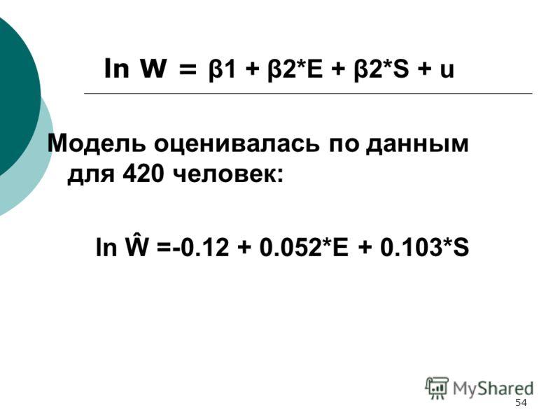 54 ln W = β1 + β2*E + β2*S + u Модель оценивалась по данным для 420 человек: ln Ŵ =-0.12 + 0.052*E + 0.103*S
