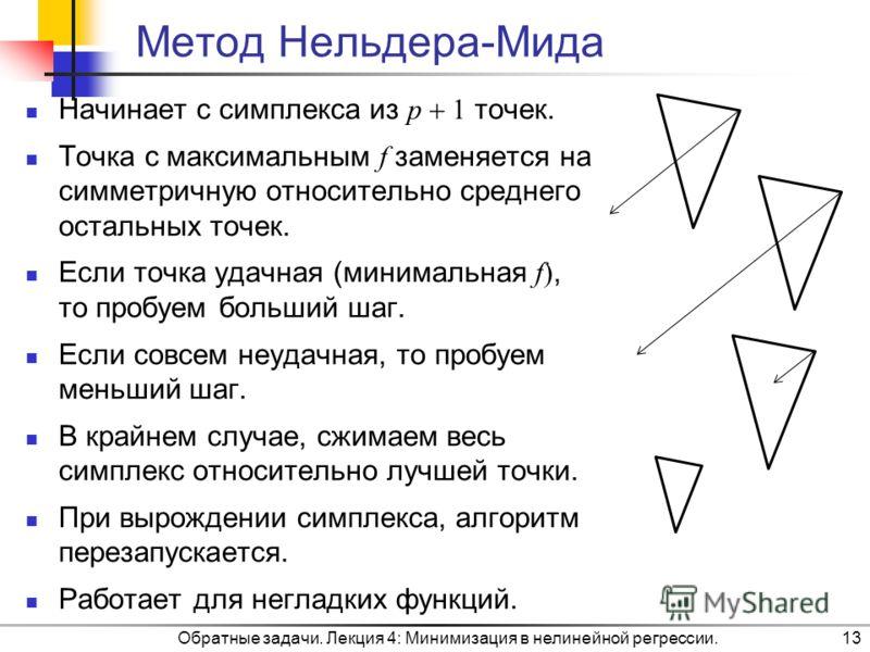 Обратные задачи. Лекция 4: Минимизация в нелинейной регрессии.13 Метод Нельдера-Мида Начинает с симплекса из p 1 точек. Точка с максимальным f заменяется на симметричную относительно среднего остальных точек. Если точка удачная (минимальная f), то пр