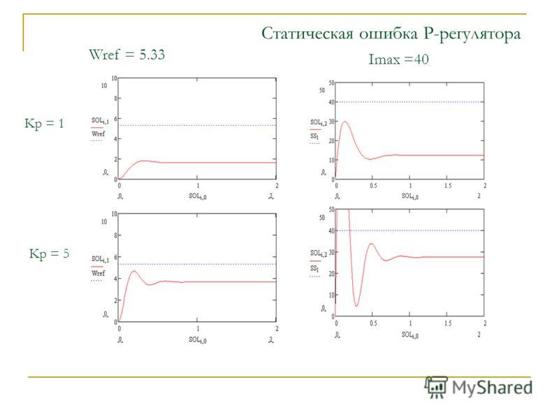 Статическая ошибка P-регулятора Wref = 5.33 Imax =40 Kp = 1 Kp = 5