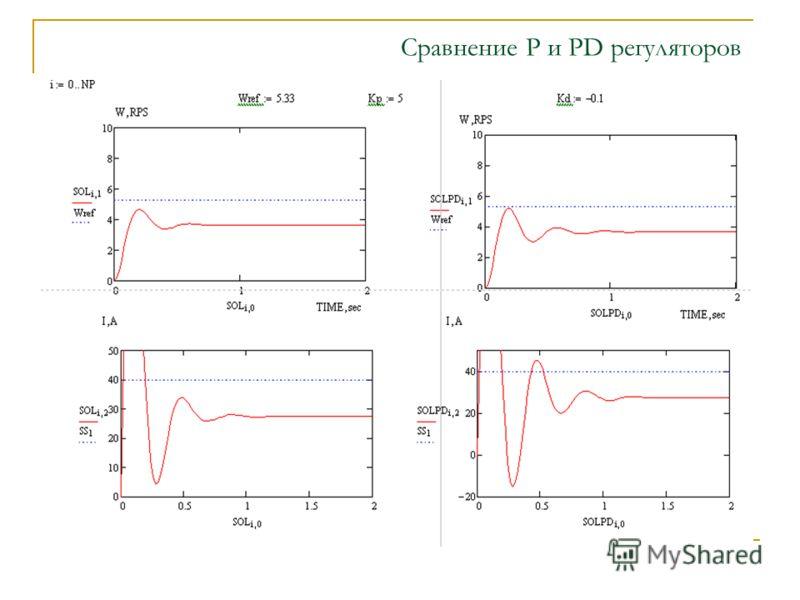 Сравнение P и PD регуляторов