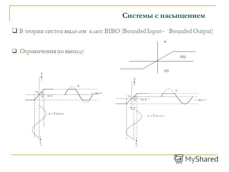 Системы с насыщением В теории систем выделен класс BIBO (Bounded Input– Bounded Output) I(t) K O(t) Ограничения по выходу