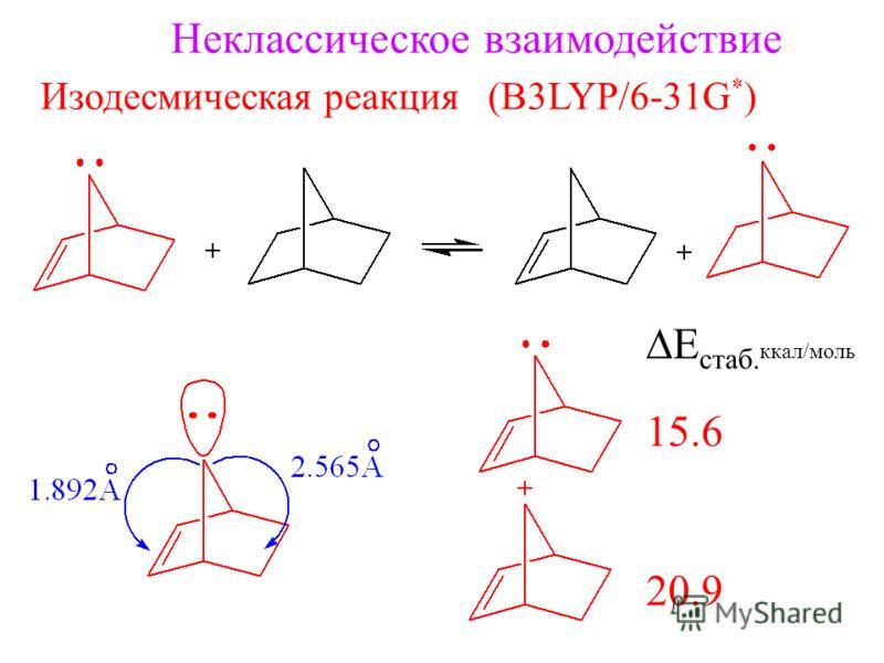 Неклассическое взаимодействие Изодесмическая реакция (B3LYP/6-31G * ) E стаб. ккал/моль 15.6 20.9