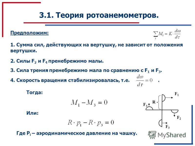 3.1. Теория ротоанемометров. Предположим: 1. Сумма сил, действующих на вертушку, не зависит от положения вертушки. 2. Силы F 2 и F 4 пренебрежимо малы. 3. Сила трения пренебрежимо мала по сравнению с F 1 и F 3. 4. Скорость вращения стабилизировалась,