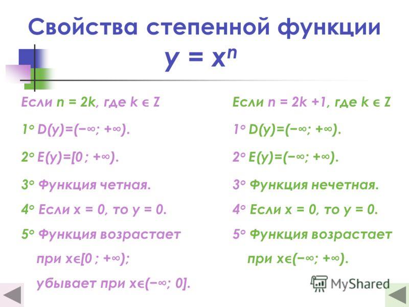 Свойства степенной функции y = x n Если n = 2k, где k Z 1 о D(y)=(; +). 2 о E(y)=[0 ; +). 3 о Функция четная. 4 о Если х = 0, то у = 0. 5 о Функция возрастает при х[0 ; +); убывает при х(; 0]. Если n = 2k +1, где k Z 1 о D(y)=(; +). 2 о E(y)=(; +). 3