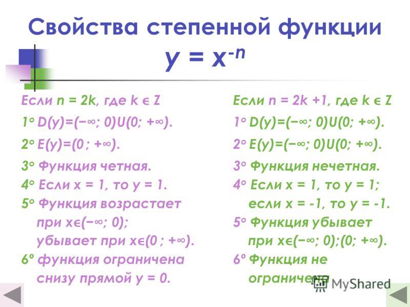 Свойства степенной функции y = x -n Если n = 2k, где k Z 1 о D(y)=(; 0)U(0; +). 2 о E(y)=(0 ; +). 3 о Функция четная. 4 о Если х = 1, то у = 1. 5 о Функция возрастает при х(; 0); убывает при х(0 ; +). 6º функция ограничена снизу прямой у = 0. Если n