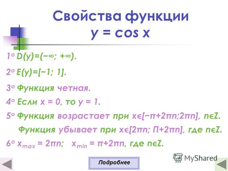 Свойства функции y = cos x 1 о D(y)=(; +). 2 о E(y)=[1; 1]. 3 о Функция четная. 4 о Если х = 0, то у = 1. 5 о Функция возрастает при х[π+2πn;2πn], nZ. Функция убывает при х[2πn; Π+2πn], где nZ. 6 o x max = 2πn; x min = π+2πn, где nZ. Подробнее