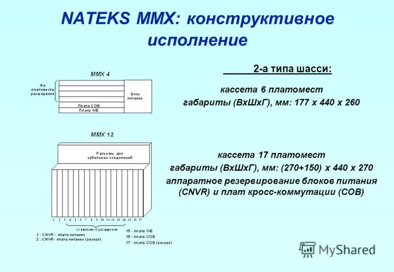 NATEKS MMX: конструктивное исполнение 2-а типа шасси: кассета 6 платомест габариты (ВхШхГ), мм: 177 х 440 х 260 кассета 17 платомест габариты (ВхШхГ), мм: (270+150) х 440 х 270 аппаратное резервирование блоков питания (CNVR) и плат кросс-коммутации (