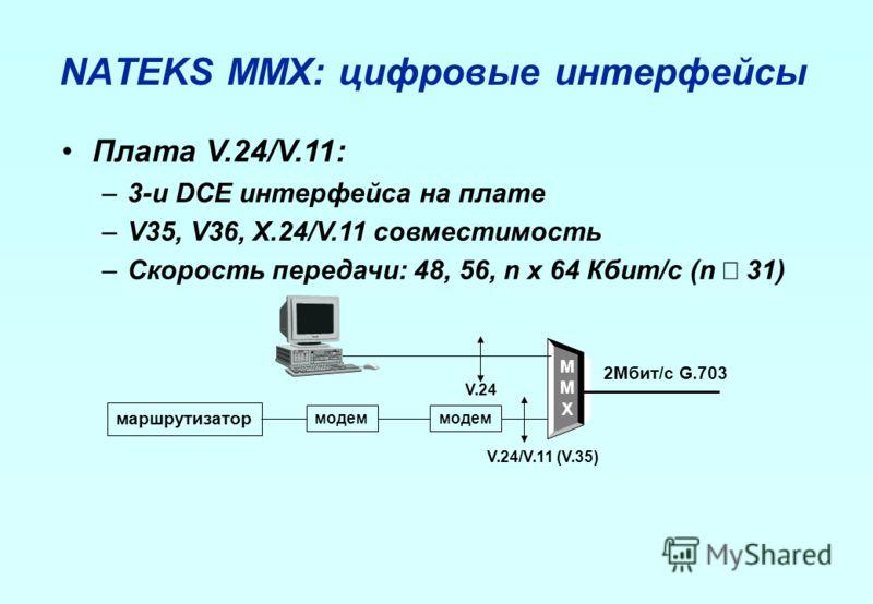 NATEKS MMX: цифровые интерфейсы Плата V.24/V.11: –3-и DCE интерфейса на плате –V35, V36, X.24/V.11 совместимость –Скорость передачи: 48, 56, n x 64 Кбит/с (n 31) MMXMMX 2Мбит/с G.703 модем маршрутизатор V.24 V.24/V.11 (V.35)