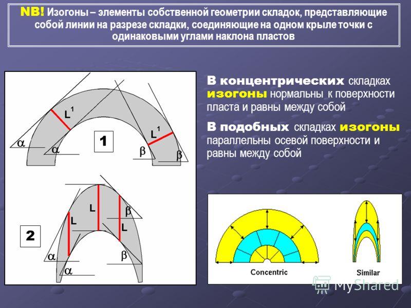 В концентрических складках изогоны нормальны к поверхности пласта и равны между собой В подобных складках изогоны параллельны осевой поверхности и равны между собой NB! Изогоны – элементы собственной геометрии складок, представляющие собой линии на р