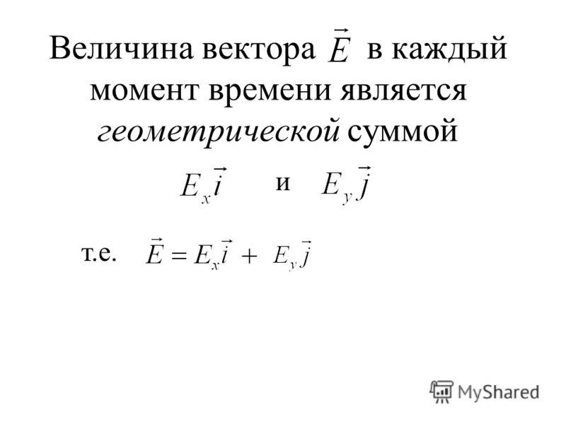 Величина вектора в каждый момент времени является геометрической суммой и т.е. +