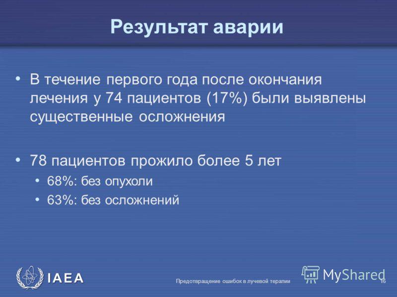 IAEA Предотвращение ошибок в лучевой терапии16 В течение первого года после окончания лечения у 74 пациентов (17%) были выявлены существенные осложнения 78 пациентов прожило более 5 лет 68%: без опухоли 63%: без осложнений Результат аварии