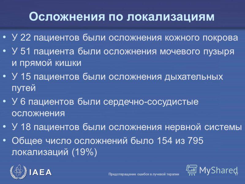 IAEA Предотвращение ошибок в лучевой терапии17 Осложнения по локализациям У 22 пациентов были осложнения кожного покрова У 51 пациента были осложнения мочевого пузыря и прямой кишки У 15 пациентов были осложнения дыхательных путей У 6 пациентов были