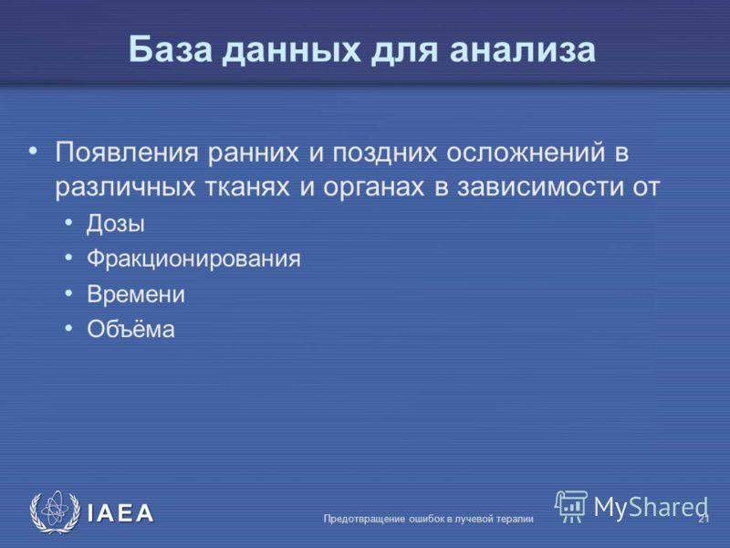 IAEA Предотвращение ошибок в лучевой терапии21 База данных для анализа Появления ранних и поздних осложнений в различных тканях и органах в зависимости от Дозы Фракционирования Времени Объёма