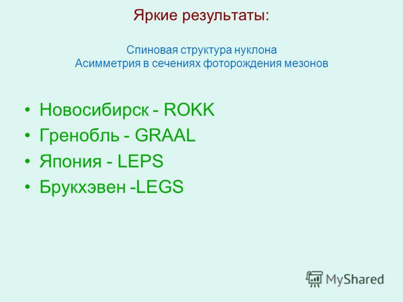 Яркие результаты: Спиновая структура нуклона Асимметрия в сечениях фоторождения мезонов Новосибирск - ROKK Гренобль - GRAAL Япония - LEPS Брукхэвен -LEGS
