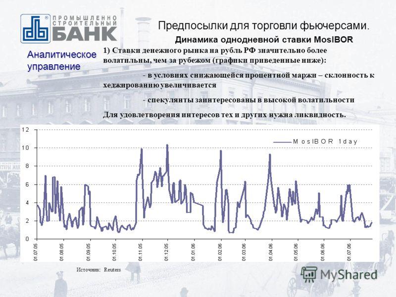 Предпосылки для торговли фьючерсами. Динамика однодневной ставки MosIBOR Аналитическое управление Источник: Reuters 1) Ставки денежного рынка на рубль РФ значительно более волатильны, чем за рубежом (графики приведенные ниже): - в условиях снижающейс