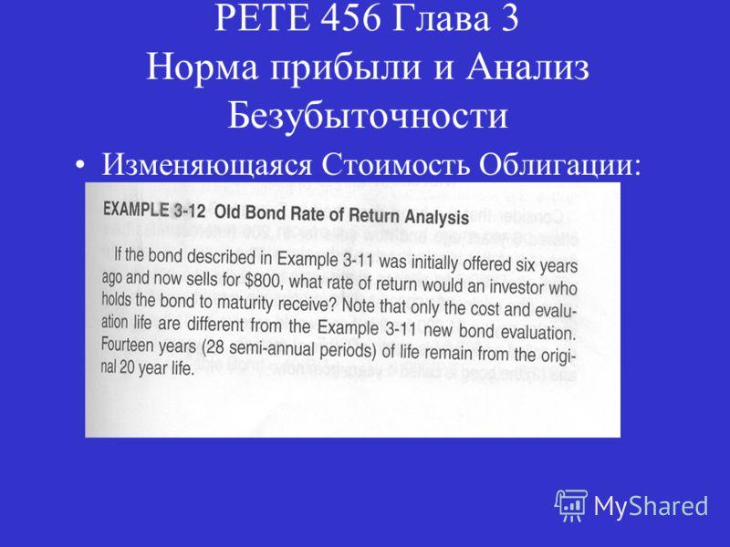 PETE 456 Глава 3 Норма прибыли и Анализ Безубыточности Изменяющаяся Стоимость Облигации: