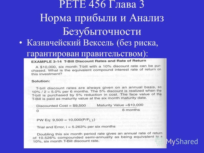 PETE 456 Глава 3 Норма прибыли и Анализ Безубыточности Казначейский Вексель (без риска, гарантирован правительством):