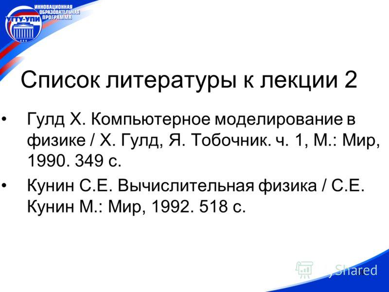 26 Список литературы к лекции 2 Гулд Х. Компьютерное моделирование в физике / Х. Гулд, Я. Тобочник. ч. 1, М.: Мир, 1990. 349 с. Кунин С.Е. Вычислительная физика / С.Е. Кунин М.: Мир, 1992. 518 с.