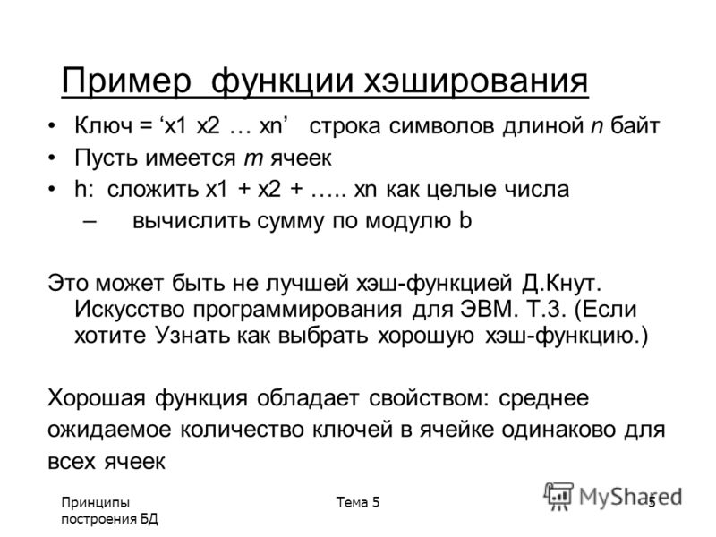 Принципы построения БД Тема 55 Пример функции хэширования Ключ = x1 x2 … xn строка символов длиной n байт Пусть имеется m ячеек h: сложить x1 + x2 + ….. хn как целые числа – вычислить сумму по модулю b Это может быть не лучшей хэш-функцией Д.Кнут. Ис
