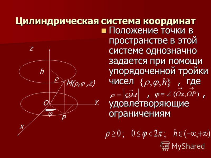 Цилиндрическая система координат Положение точки в пространстве в этой системе однозначно задается при помощи упорядоченной тройки чисел, где Положение точки в пространстве в этой системе однозначно задается при помощи упорядоченной тройки чисел, где