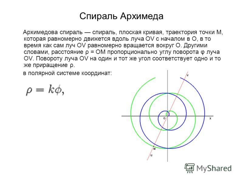 Спираль Архимеда Архимедова спираль спираль, плоская кривая, траектория точки M, которая равномерно движется вдоль луча OV с началом в O, в то время как сам луч OV равномерно вращается вокруг O. Другими словами, расстояние ρ = OM пропорционально углу