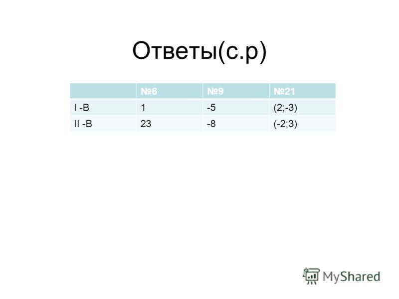 Ответы(с.р) 6921 I -В1-5(2;-3) II -В23-8(-2;3)