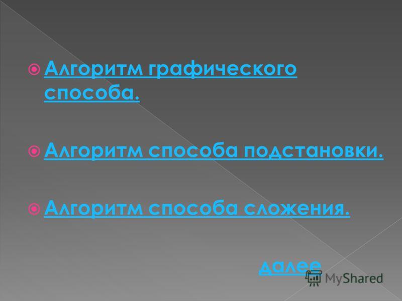 Алгоритм графического способа. Алгоритм графического способа. Алгоритм способа подстановки. Алгоритм способа сложения. далее