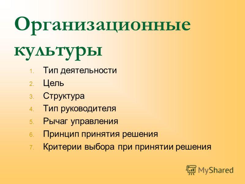 Организационные культуры 1. Тип деятельности 2. Цель 3. Структура 4. Тип руководителя 5. Рычаг управления 6. Принцип принятия решения 7. Критерии выбора при принятии решения