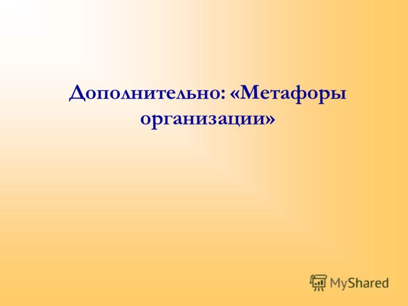 Дополнительно: «Метафоры организации»