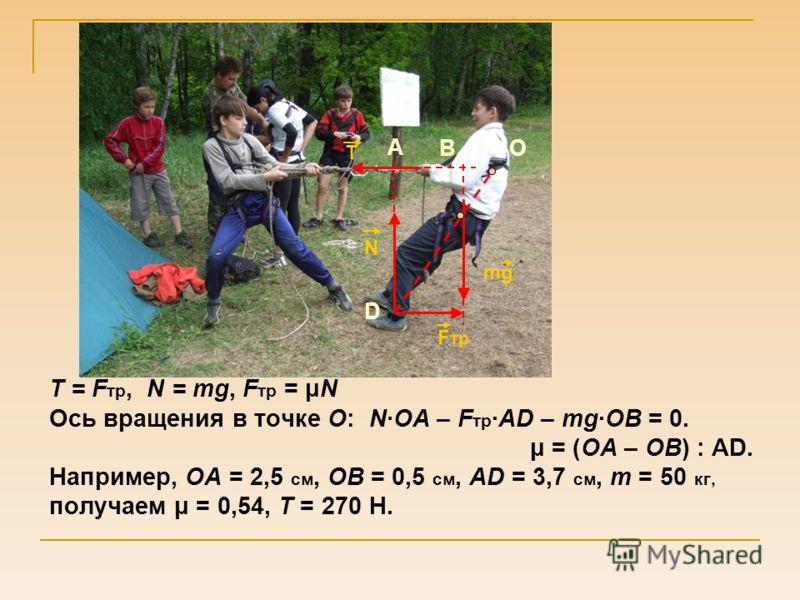 T = F тр, N = mg, F тр = μN Ось вращения в точке О:N·ОА – F тр ·АD – mg·ОВ = 0. μ = (ОА – ОВ) : АD. Например, ОА = 2,5 см, ОВ = 0,5 см, АD = 3,7 см, m = 50 кг, получаем μ = 0,54, Т = 270 Н. mg N F тр D BO T A