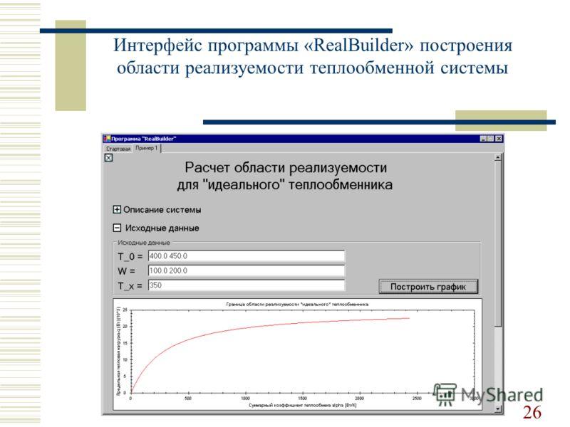 Интерфейс программы «RealBuilder» построения области реализуемости теплообменной системы 26