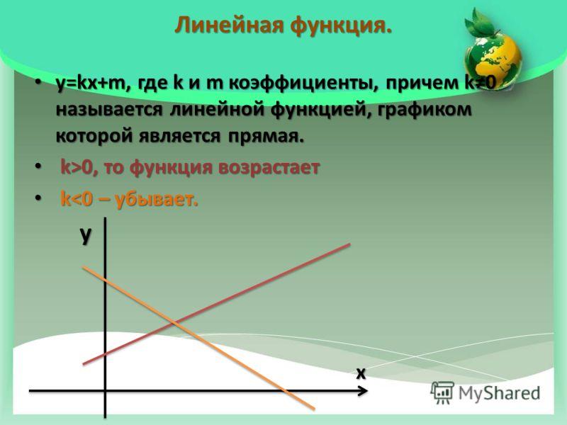 Линейная функция. у=kx+m, где k и m коэффициенты, причем k0 называется линейной функцией, графиком которой является прямая. у=kx+m, где k и m коэффициенты, причем k0 называется линейной функцией, графиком которой является прямая. k>0, то функция возр