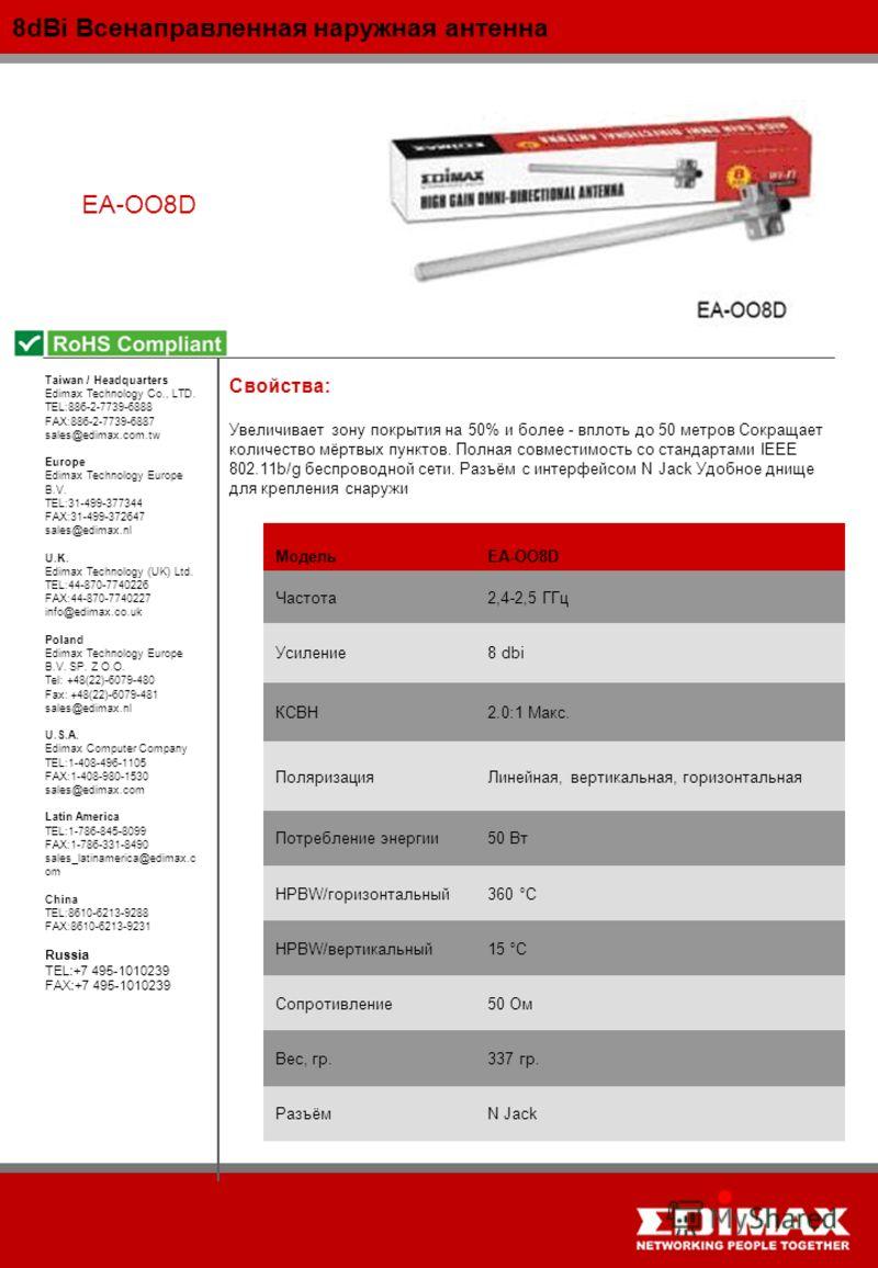 8dBi Всенаправленная наружная антенна EA-OO8D МодельEA-OO8D Частота2,4-2,5 ГГц Усиление8 dbi КСВН2.0:1 Макс. ПоляризацияЛинейная, вертикальная, горизонтальная Потребление энергии50 Вт HPBW/горизонтальный360 °C HPBW/вертикальный15 °C Сопротивление50 О